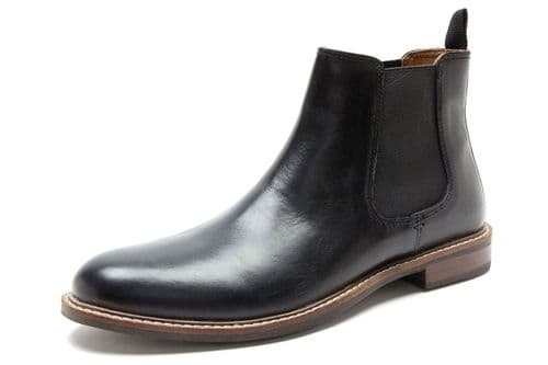 Red Tape Bateman Mens Leather Chelsea Boots with Target Sole Black